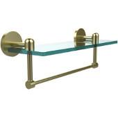 Tango Collection 16'' Glass Shelf w/Towel Bar, Premium Finish, Satin Brass