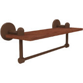 Tango Collection 16 Inch Solid IPE Ironwood Shelf with Integrated Towel Bar, Antique Bronze