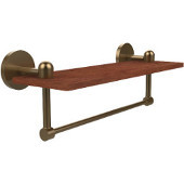 Tango Collection 16 Inch Solid IPE Ironwood Shelf with Integrated Towel Bar, Brushed Bronze