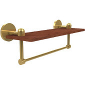 Tango Collection 16 Inch Solid IPE Ironwood Shelf with Integrated Towel Bar, Polished Brass