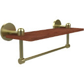 Tango Collection 16 Inch Solid IPE Ironwood Shelf with Integrated Towel Bar, Satin Brass