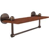Tango Collection 16 Inch Solid IPE Ironwood Shelf with Integrated Towel Bar, Venetian Bronze