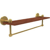 Tango Collection 22 Inch Solid IPE Ironwood Shelf with Integrated Towel Bar, Unlacquered Brass