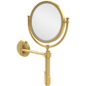 Tribecca Collection Wall Mounted Make-Up Mirror 8 Inch Diameter with 3X Magnification, Unlacquered Brass