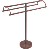 Free Standing Double Arm Towel Holder, Antique Copper