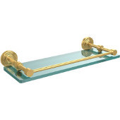 Waverly Place 16 Inch Tempered Glass Shelf with Gallery Rail, Unlacquered Brass