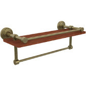 Waverly Place Collection 16 Inch IPE Ironwood Shelf with Gallery Rail and Towel Bar, Antique Brass