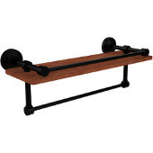 Waverly Place Collection 16 Inch IPE Ironwood Shelf with Gallery Rail and Towel Bar, Matte Black