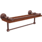Waverly Place Collection 16 Inch IPE Ironwood Shelf with Gallery Rail and Towel Bar, Antique Copper