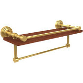 Waverly Place Collection 16 Inch IPE Ironwood Shelf with Gallery Rail and Towel Bar, Polished Brass