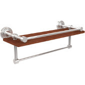 Waverly Place Collection 16 Inch IPE Ironwood Shelf with Gallery Rail and Towel Bar, Polished Chrome