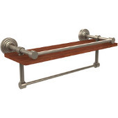 Waverly Place Collection 16 Inch IPE Ironwood Shelf with Gallery Rail and Towel Bar, Antique Pewter
