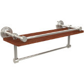 Waverly Place Collection 16 Inch IPE Ironwood Shelf with Gallery Rail and Towel Bar, Polished Nickel