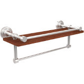 Waverly Place Collection 16 Inch IPE Ironwood Shelf with Gallery Rail and Towel Bar, Satin Chrome