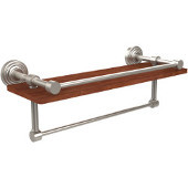 Waverly Place Collection 16 Inch IPE Ironwood Shelf with Gallery Rail and Towel Bar, Satin Nickel