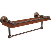 Waverly Place Collection 16 Inch IPE Ironwood Shelf with Gallery Rail and Towel Bar, Venetian Bronze