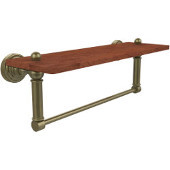 Waverly Place Collection 16 Inch Solid IPE Ironwood Shelf with Integrated Towel Bar, Antique Brass