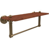 Waverly Place Collection 16 Inch Solid IPE Ironwood Shelf with Integrated Towel Bar, Brushed Bronze