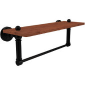 Waverly Place Collection 16 Inch Solid IPE Ironwood Shelf with Integrated Towel Bar, Matte Black