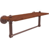 Waverly Place Collection 16 Inch Solid IPE Ironwood Shelf with Integrated Towel Bar, Antique Copper