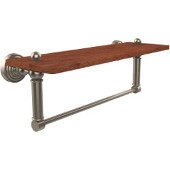 Waverly Place Collection 16 Inch Solid IPE Ironwood Shelf with Integrated Towel Bar, Antique Pewter