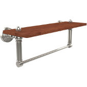 Waverly Place Collection 16 Inch Solid IPE Ironwood Shelf with Integrated Towel Bar, Polished Nickel