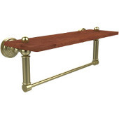 Waverly Place Collection 16 Inch Solid IPE Ironwood Shelf with Integrated Towel Bar, Satin Brass