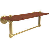 Waverly Place Collection 16 Inch Solid IPE Ironwood Shelf with Integrated Towel Bar, Unlacquered Brass