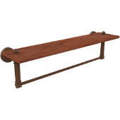 Waverly Place Collection 22 Inch Solid IPE Ironwood Shelf with Integrated Towel Bar, Antique Bronze