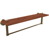 Waverly Place Collection 22 Inch Solid IPE Ironwood Shelf with Integrated Towel Bar, Brushed Bronze