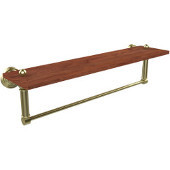 Waverly Place Collection 22 Inch Solid IPE Ironwood Shelf with Integrated Towel Bar, Satin Brass