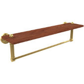 Waverly Place Collection 22 Inch Solid IPE Ironwood Shelf with Integrated Towel Bar, Unlacquered Brass