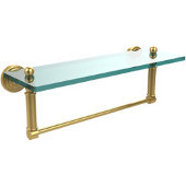Waverly Place 16 Inch Glass Vanity Shelf with Integrated Towel Bar, Polished Brass