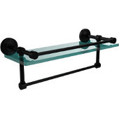 16 Inch Gallery Glass Shelf with Towel Bar, Matte Black