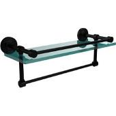 16 Inch Gallery Glass Shelf with Towel Bar, Matte Black