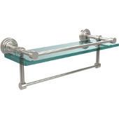 16 Inch Gallery Glass Shelf with Towel Bar, Polished Nickel