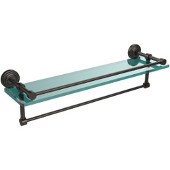 22 Inch Gallery Glass Shelf with Towel Bar, Oil Rubbed Bronze
