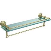 22 Inch Gallery Glass Shelf with Towel Bar, Satin Brass