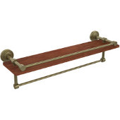 Waverly Place Collection 22 Inch IPE Ironwood Shelf with Gallery Rail and Towel Bar, Antique Brass