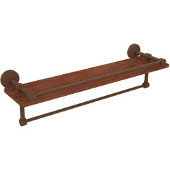 Waverly Place Collection 22 Inch IPE Ironwood Shelf with Gallery Rail and Towel Bar, Antique Bronze