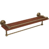 Waverly Place Collection 22 Inch IPE Ironwood Shelf with Gallery Rail and Towel Bar, Brushed Bronze