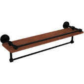 Waverly Place Collection 22 Inch IPE Ironwood Shelf with Gallery Rail and Towel Bar, Matte Black