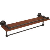 Waverly Place Collection 22 Inch IPE Ironwood Shelf with Gallery Rail and Towel Bar, Oil Rubbed Bronze