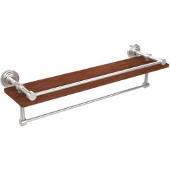 Waverly Place Collection 22 Inch IPE Ironwood Shelf with Gallery Rail and Towel Bar, Polished Chrome