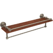 Waverly Place Collection 22 Inch IPE Ironwood Shelf with Gallery Rail and Towel Bar, Antique Pewter