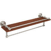 Waverly Place Collection 22 Inch IPE Ironwood Shelf with Gallery Rail and Towel Bar, Polished Nickel