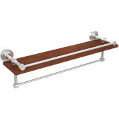 Waverly Place Collection 22 Inch IPE Ironwood Shelf with Gallery Rail and Towel Bar, Satin Chrome