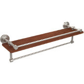 Waverly Place Collection 22 Inch IPE Ironwood Shelf with Gallery Rail and Towel Bar, Satin Nickel
