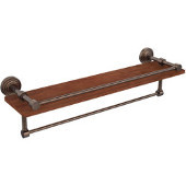 Waverly Place Collection 22 Inch IPE Ironwood Shelf with Gallery Rail and Towel Bar, Venetian Bronze