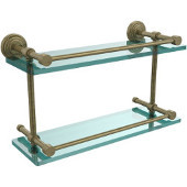 Waverly Place 16 Inch Double Glass Shelf with Gallery Rail, Antique Brass